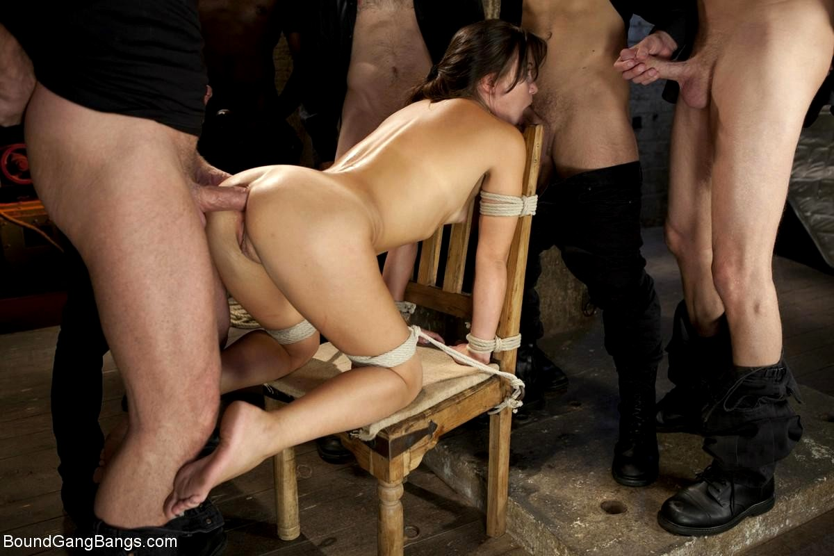 Girl tied up and gang banged