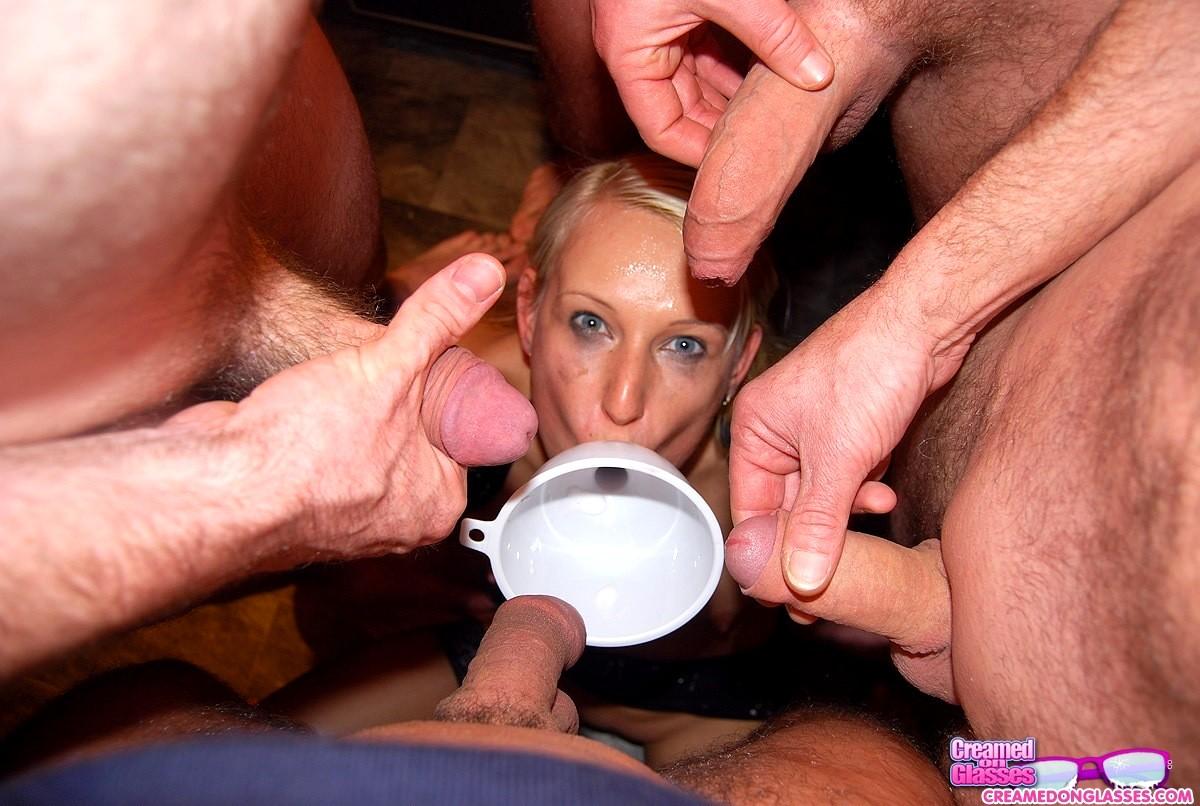 Slut drinks a gallon of cum