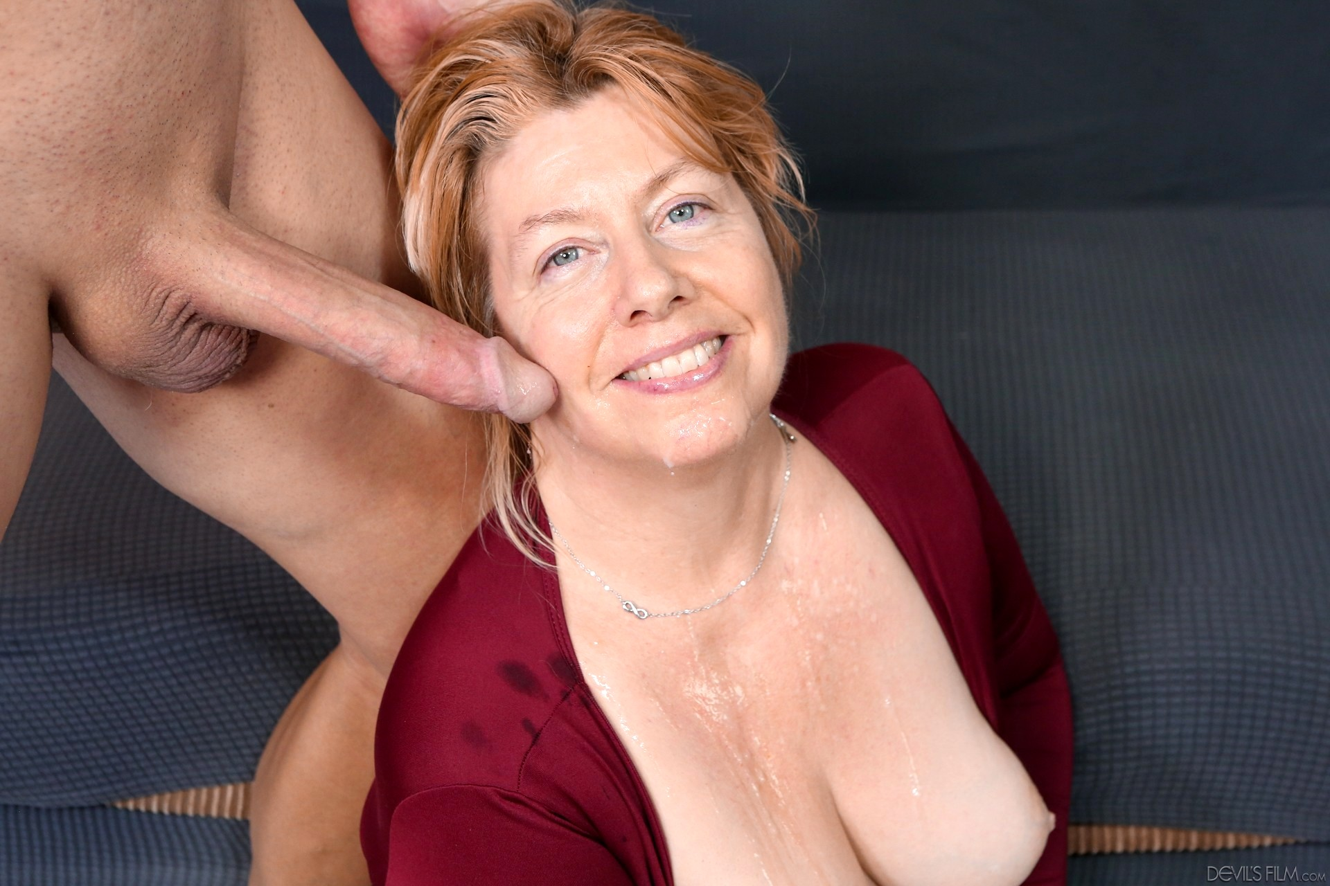 Indecent granny getting face fucked