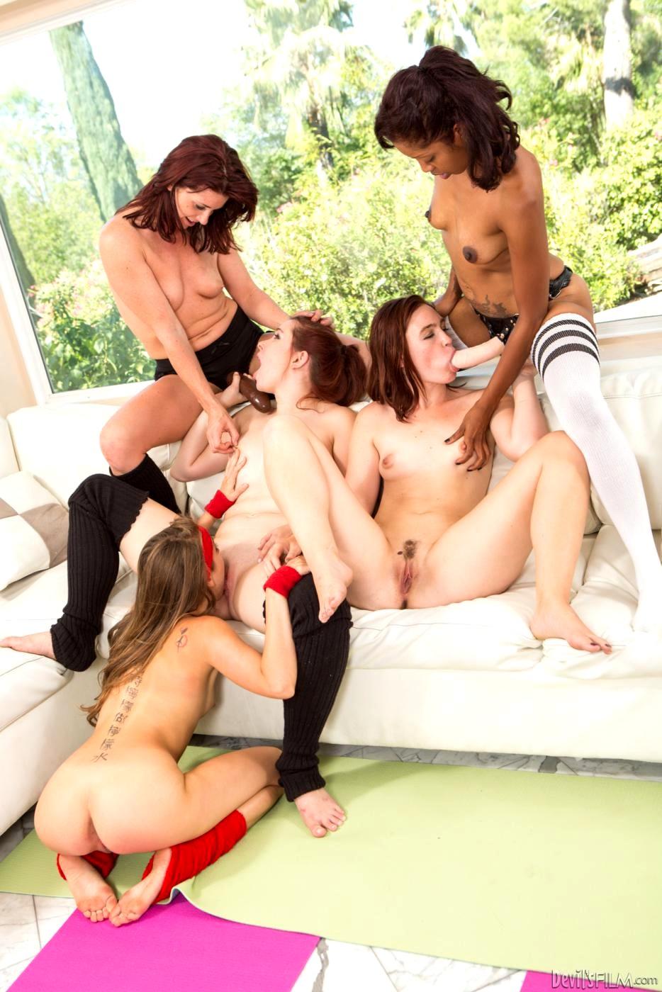 Horny lesbian orgy