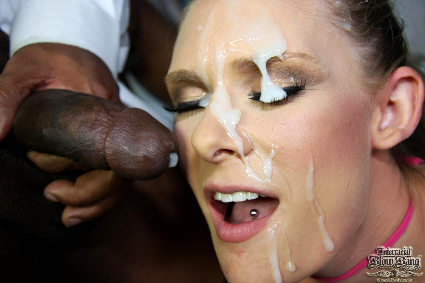 Interracial black cock slut cum bukkake