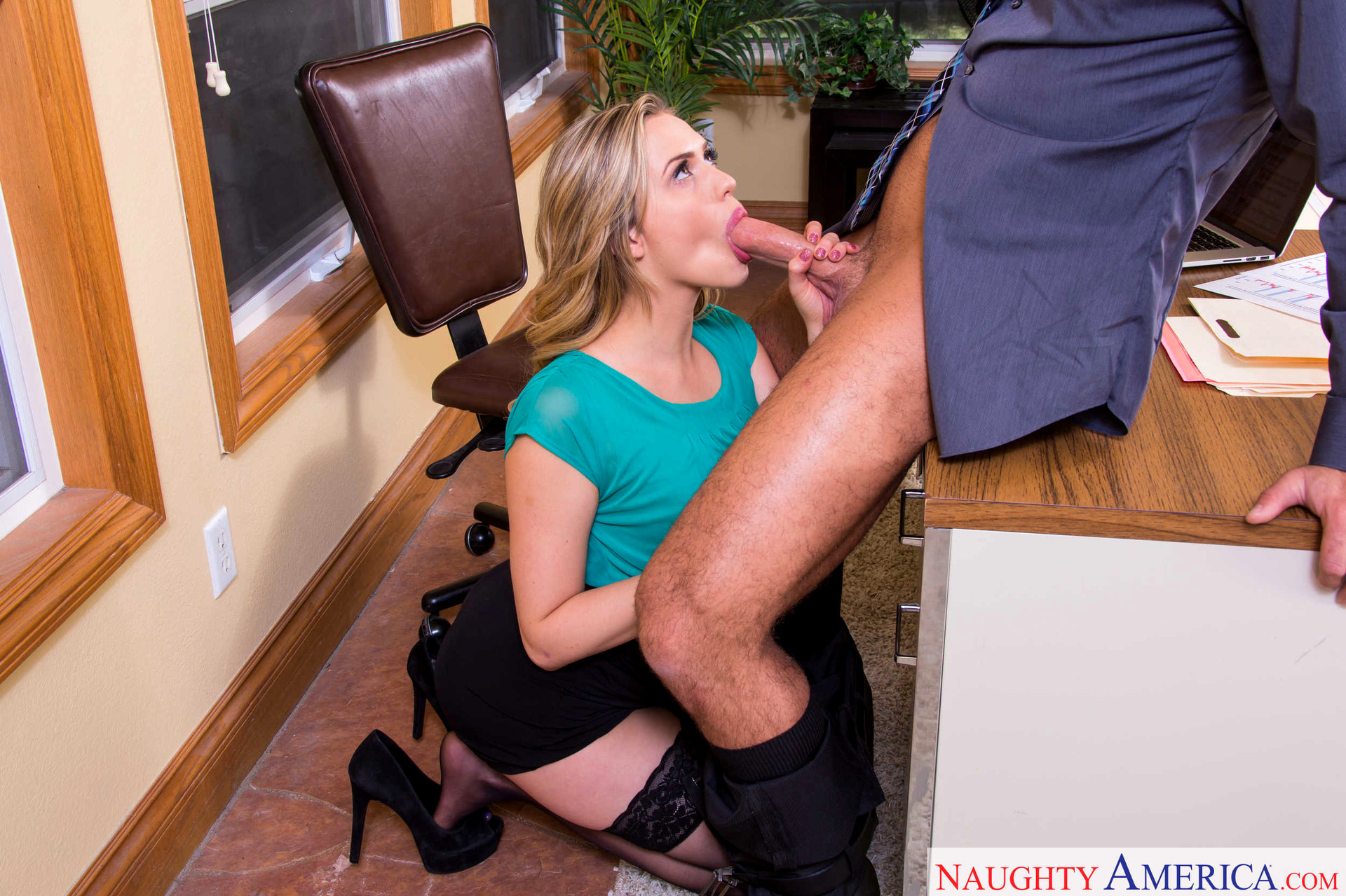 Office blonde forced sex