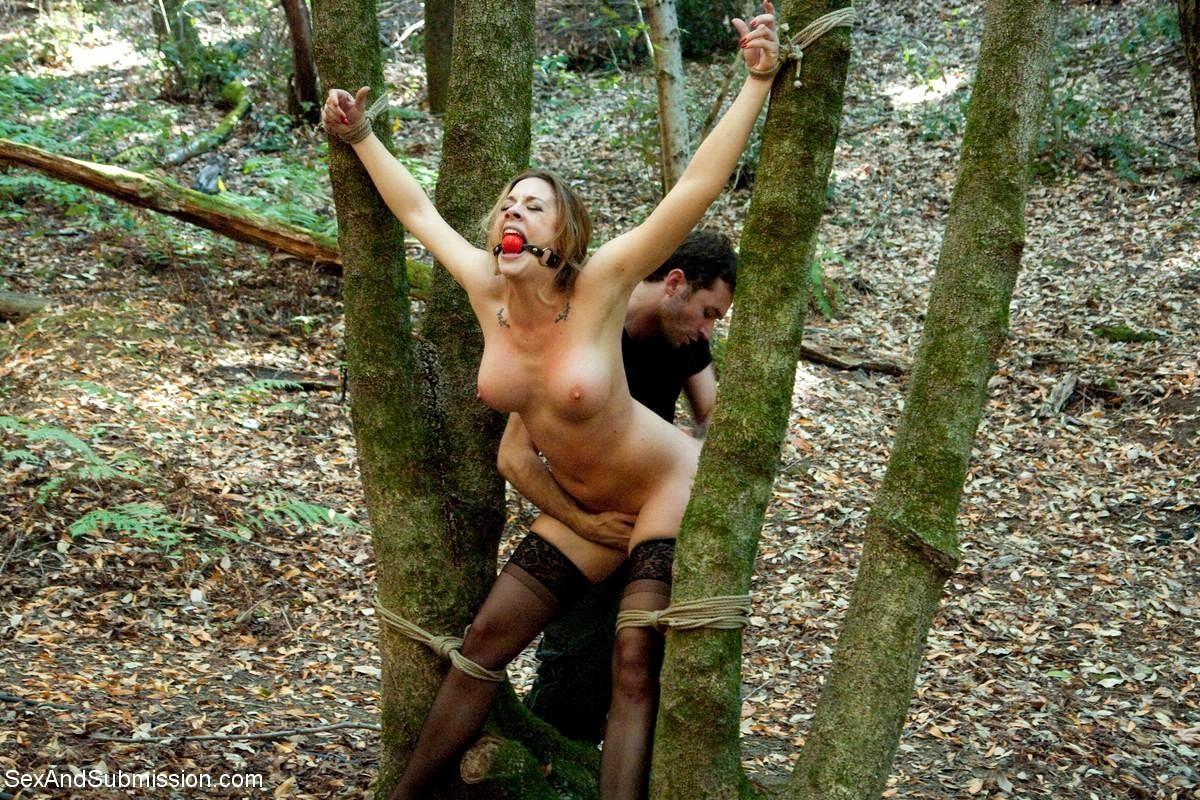 вот, привязал к ветке дерева и выебал жену бруса сосет член