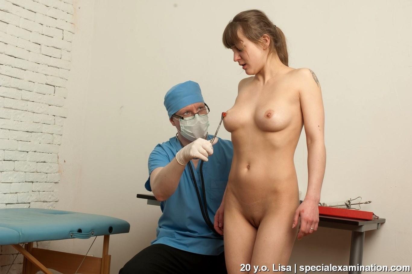 Girl having naked with a doctor