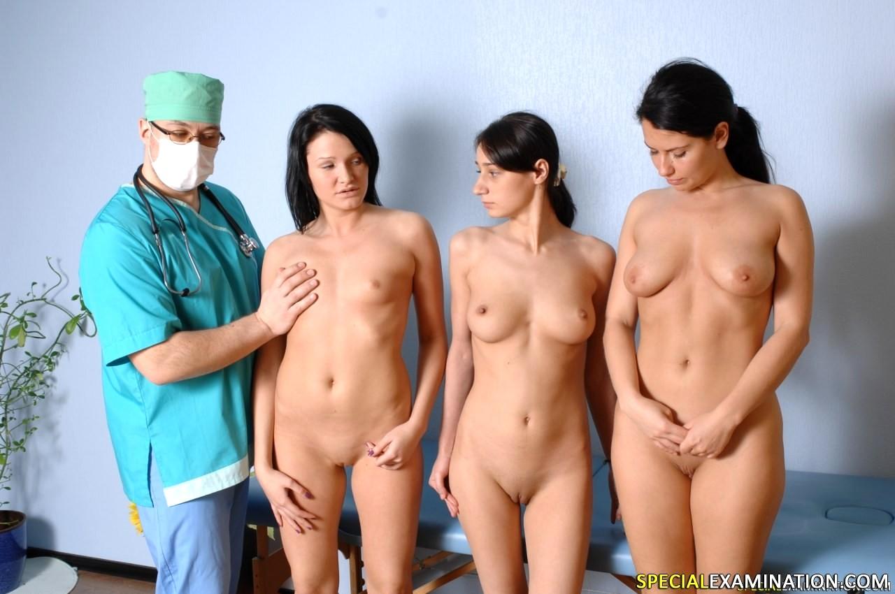 Women doctor exam naked male