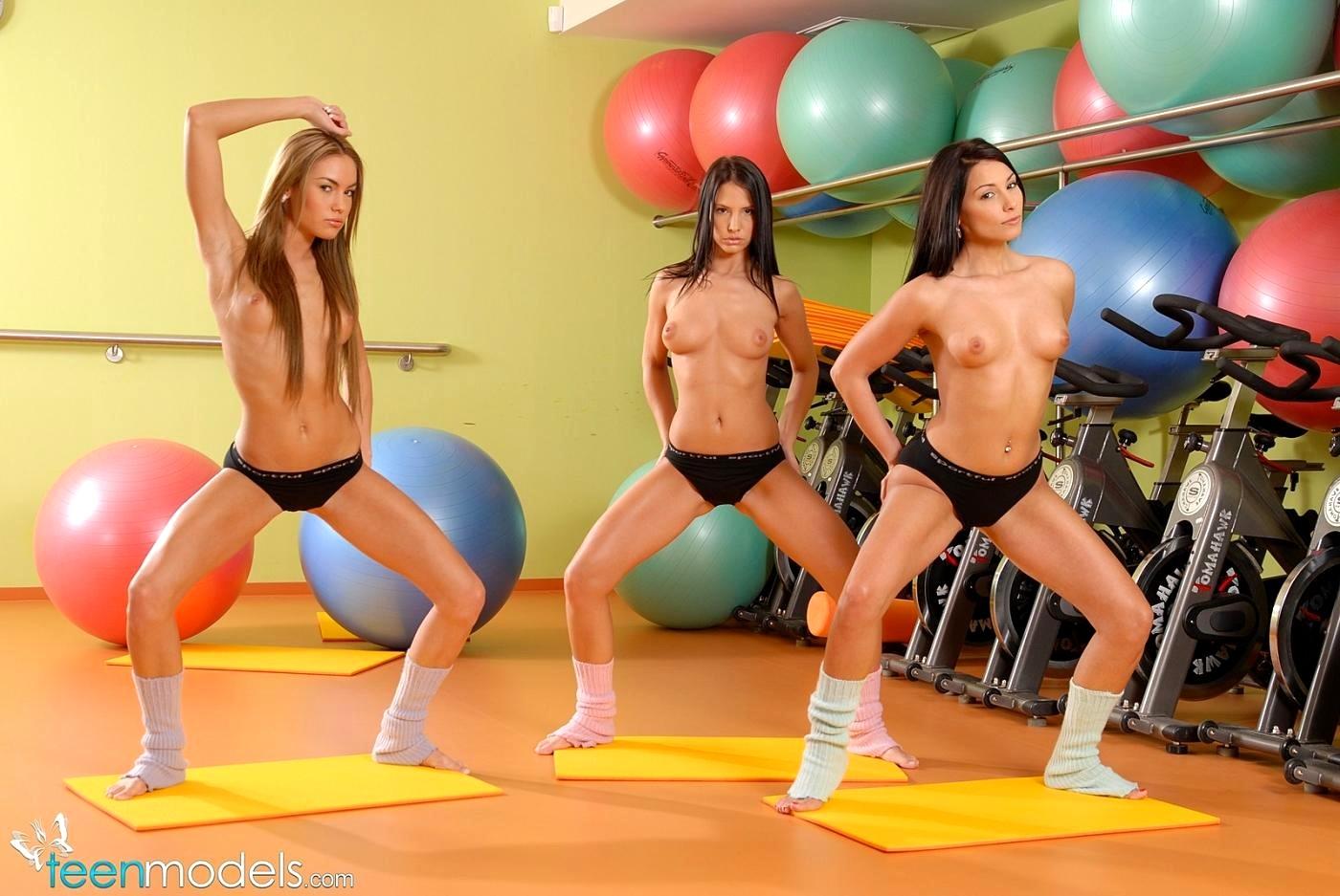 Nude aerobics instructor