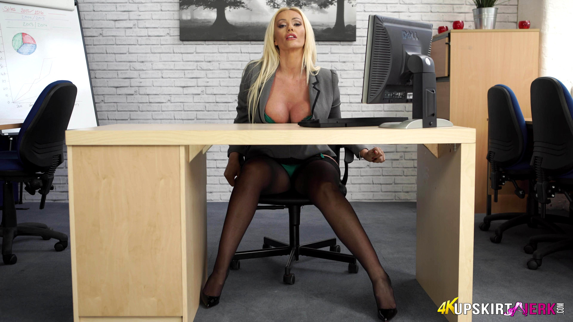 Upskirt secretary desk