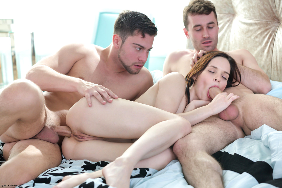 Three men fucking one woman